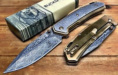 "8.25"" 3D ETCHED DAMASCUS GOLD POCKET FOLDING KNIFE Outdoor BUCKSHOT Hunting  GD"