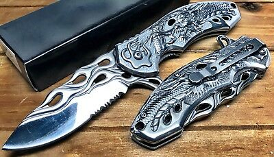 "8"" Pocket Knife Spring Assisted Dragon Ball Fiery Hunting Tactical Folding CHROM"