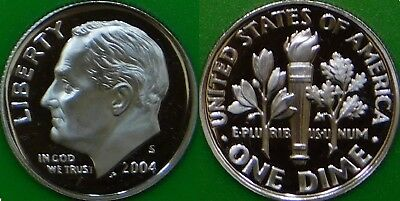 2004 US (S Mark) Roosevelt Dime Graded as Proof From Original Set
