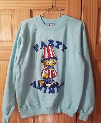 Vintage Garfield Crewneck Sweater Pullover PARTY ANIMAL 1978 Made USA Large