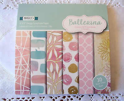 """Pack of 30 sheets of MOLLYS 6 inch x 6 inch Scrapbook paper """"BALLERINA"""" #2"""