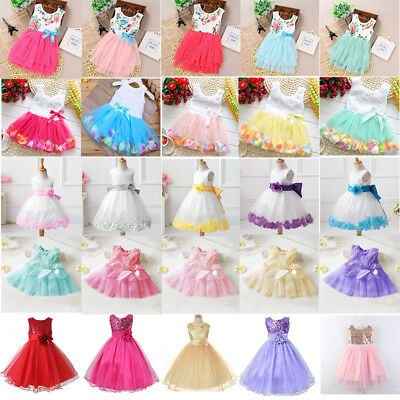 Toddler Kids Baby Girls Party Tutu Dress Wedding Bridesmaid Pageant Gown Dresses