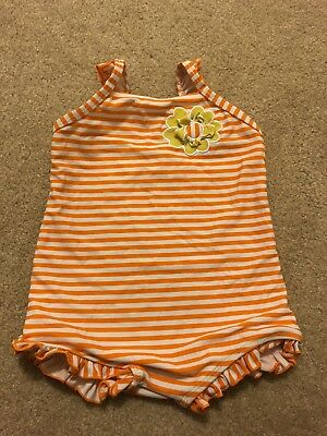 Circo Baby Girls Orange white stripe Ruffle One Piece Swimsuit Size 18 months