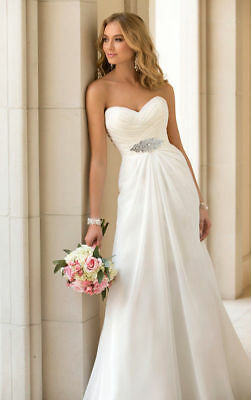 New Chiffon White/ivory Wedding dress Bridal Gown Stock Size 6-8-10-12-14-16-18