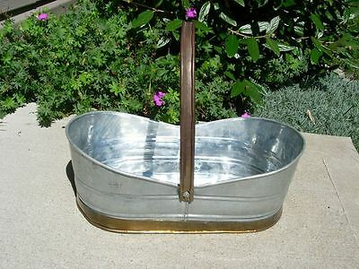 Vintage Oval Silver Brass Galvanized Tin Metal Planter Basket Flower Herb Garden
