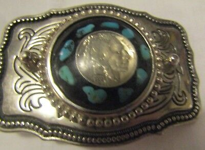 Buffalo Nickle Belt Buckle With Turquoise Around The Nickle