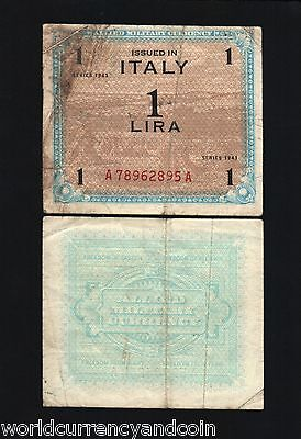 Italy 1 Lire 1943 Euro Allied Military Payment World War Ii Amc Currency Note