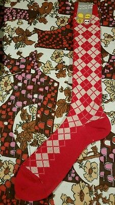 A Pair Of Deadstock Original Vintage 1970s Ladies Red & white Woolen Socks BNWT