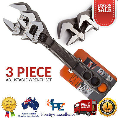 Bahco 3 Piece Adjustable Wrench Set Multi-function Universal Quick Snap/Grip NEW