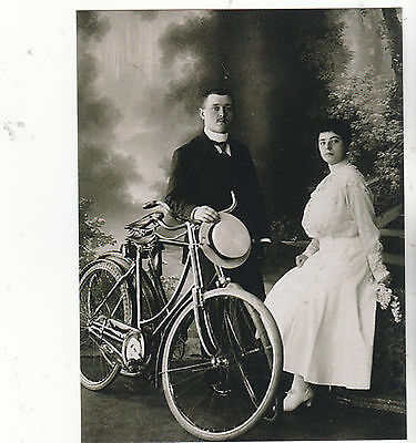 """*Postcard-""""Couple Posing On Bicycle...w/Man Holding Ladies Hat   -Classic-(B521)"""