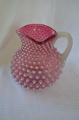 Antique Hobbs Brockunier Cranberry Opalescent Pitcher Beautiful Piece Large