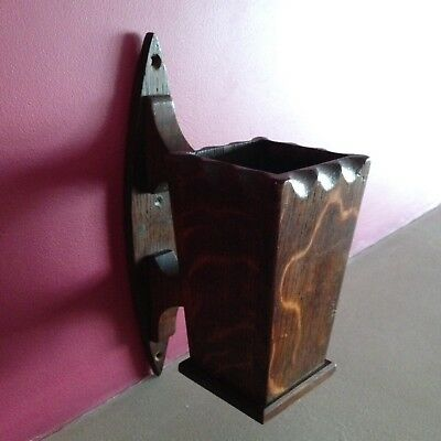 Antique Wood Wall Sconce Arts And Crafts Vintage Old Oak Candle Box Gothic.