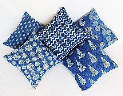 10 Pc Lot Hand Block Print Fabric Cushion Cover Indian Handmade Pillow Case W
