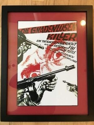 Thompson Machine Gun & FBI Framed Art Work (German)