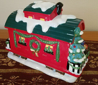 Mrs Fields Holiday Express Train Caboose Large Cookie Jar Collectible Christmas