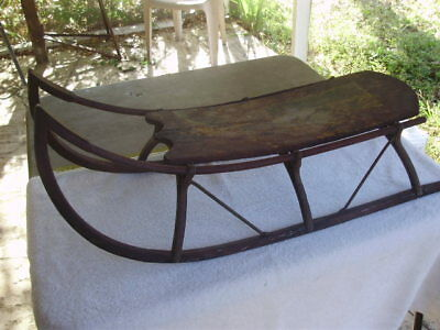 Antique Wood Sled,1800s Victorian style , Primitive - 29 inch Length, Swan Style
