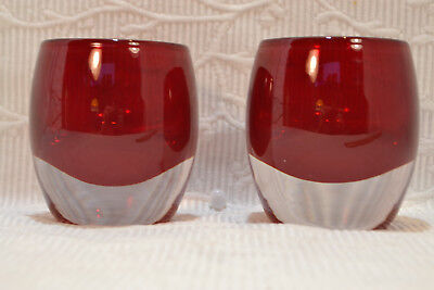 Set 2 Crate and Barrel Ruby Red Glass Candle Diva Votive Holder Made in Poland