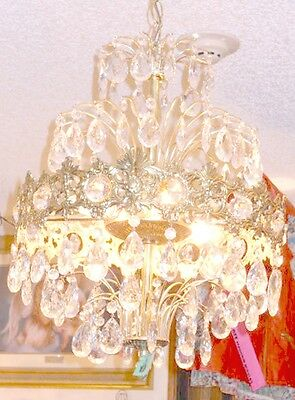 Antique European Coronal Brass and Crystal 6 Bulb Chandelier w/ 2 Types Prisms