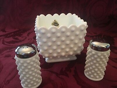 Lot of Fenton White Hobnail Milk Glass Square Dish Planter + Salt Pepper Shakers