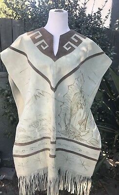 Western Leather Fringe Our Lady of Guadalupe Poncho Virgin Mary Handmade Signed