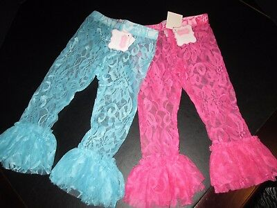 Lace Ruffled Leggings by Mud Pie, Aqua and Hot Pink, Set of 2, Size 3T, NWT