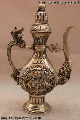 China White Copper Silver Dragon Flower Teapot Flagon Wine pot