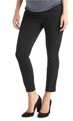 Gap Black Maternity Double Knit demi panel skinny ankle pants ~ NWT 8