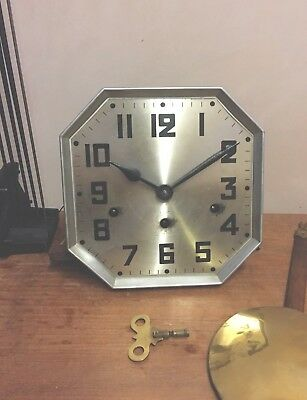"Kienzle German Wall  Clock Complete Movement  Gong , Pendulum & Key GWO 8""W 6"" D"