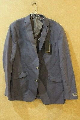 Reaction Kenneth Cole NWT Blue/White Mens Size 44L 2 Button Sport Coat ____ HANG