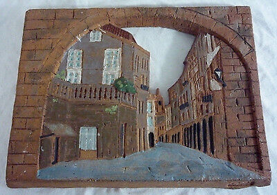 Vintage European Street SIGNED Hand Painted Stoneware Pottery Art Relief Plaque