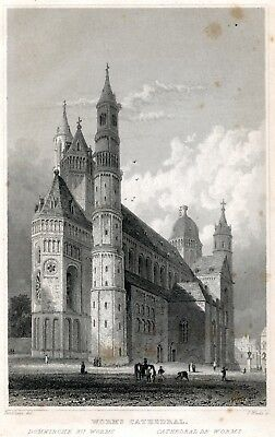 Worms Cathedral Gothic Church Tombleson antique print 1840 Steel Engraving