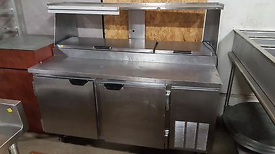 """67"""" Beverage Air 115v DP67 Refrigerated Pizza Prep Table 2 Door Tested Sandwich"""