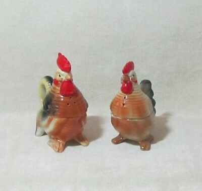 Vintage Chicken Hen And Rooster Salt Pepper Creamer Sugar Figurene