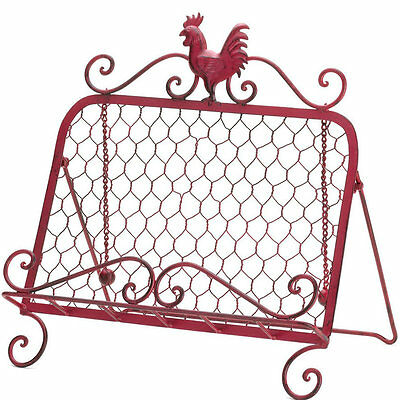 Iron Rooster Cookbook Book Stand Holder Rack Red Rustic Kitchen Farm Farmhouse