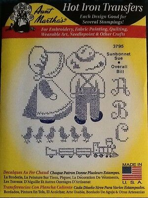 Aunt Martha's Hot Iron Transfers Sunbonnet Sue Overall Bill ABC 3795 Train NEW
