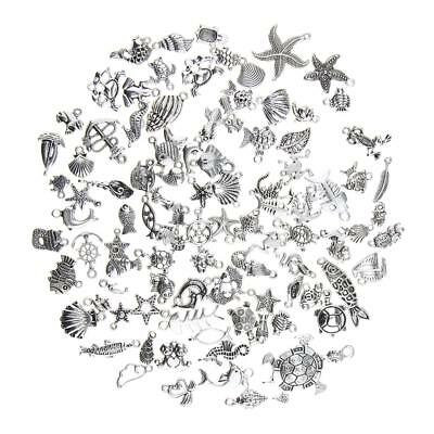 100pcs Mixed Ocean Fish & Sea Creatures Charms Assorted Pendants Making