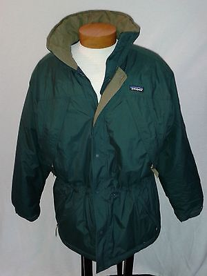Patagonia Men's Insulated Winter Jacket Green Coat (No Hood) 4 Pockets Size M
