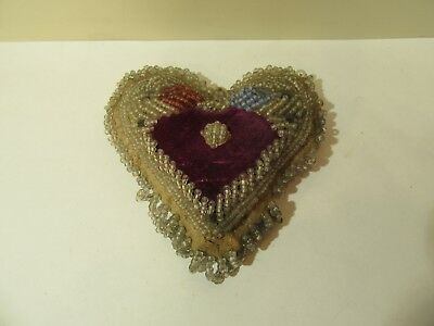 Antique Iroquois Whimsey Beadwork Pin Cushion Lovers Heart