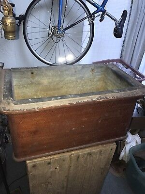 Antique Walnut Toilet Tank Copper Liner Old Vintage Bathroom Alagatored Finish