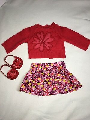American Girl Doll Red Flower Sweater And Skirt Set