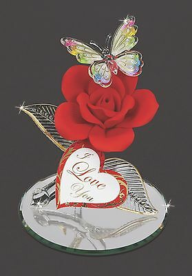 Glass Baron ~ Butterfly w/ Red Rose ~ I Love You ~ Valentine's Day Gift ~ NIB