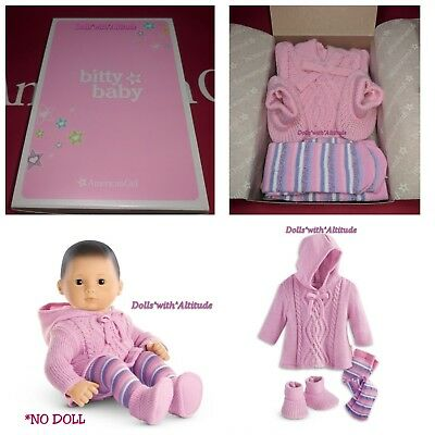 American Girl Bitty Baby or Bitty Twin Pink Snuggly Sweater Set Outfit NEW!