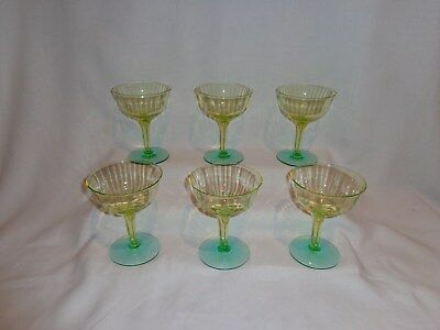 Vintage Tiffin Glass Green & Yellow Optic Champagne Cocktail Glasses (6)