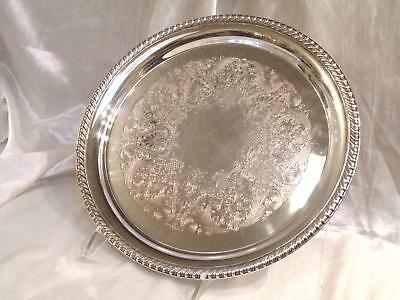 "Vtg Wm Rogers Silver Plated 12.5"" Round Engraved Gallery Serving Tray #171"