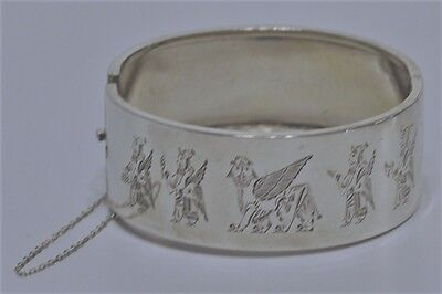Antique Egyptian Revival Silver Cuff Story Bracelet Wide/ Engraved/ Hallmark