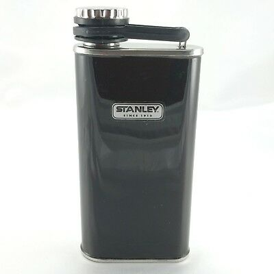 STANLEY Hip Flask BLACK & Stainless Steel 8 Ounce Screw On Top ~ New Old Stock