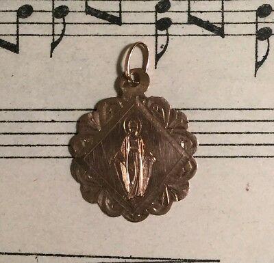 Antique French 18k Rose Gold Medal Miraculous Madonna c1879