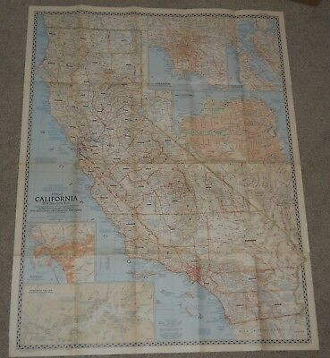 """29"""" x 37"""" CALIFORNIA Vintage 1954 National Geographic Map Art Scrapbooking #8202"""