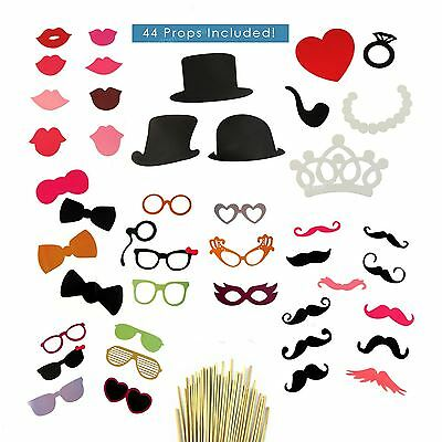 44pcs Wedding Birthday Photo Booth Selfie Photography Props Party Xmas Fun Party