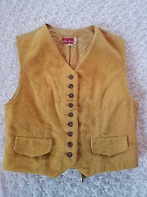 La ligna yellow men's small wool vest 70% wool Western Vintage